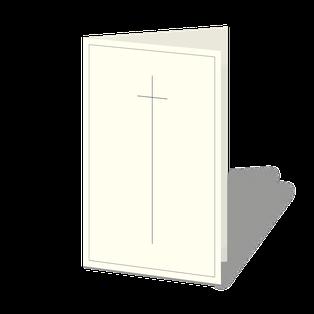 Trauerkarte mit Kreuz Symbol, schlicht und zarte Linie.