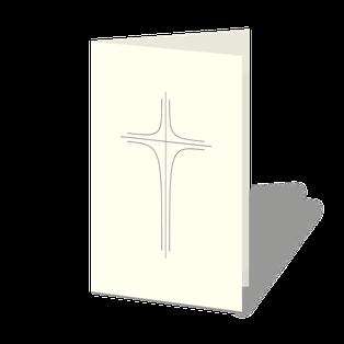 Trauerkarte mit Zeichnung eines klassischen Kreuzes. Schlicht und zarte Linien.