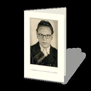 Trauerkarte mit wunderschönem Portrait aus guten Zeiten. Sepiafarbenes Portrait, darunter ein kleiner Text.