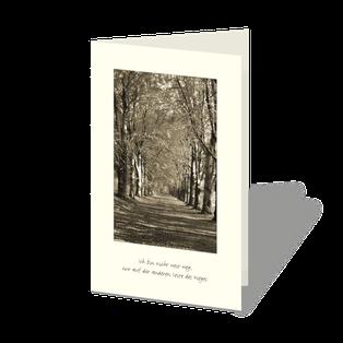 """Trauerkarte mit Baumallee in SW sepia. Sonnenstrahlen fallen durch die herbstlichen Baumreihen, unten ein Text: Ich bin nicht weg, nur auf der anderen Seite des Weges""""."""