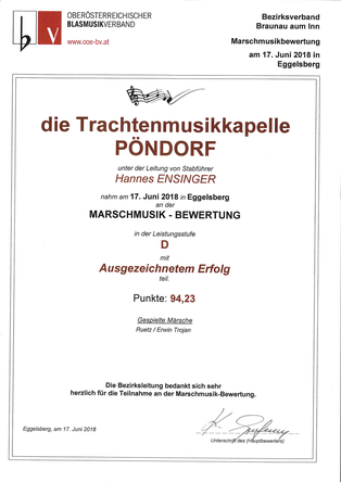 Marschwertung TMK Pöndorf 2018 Eggelsberg