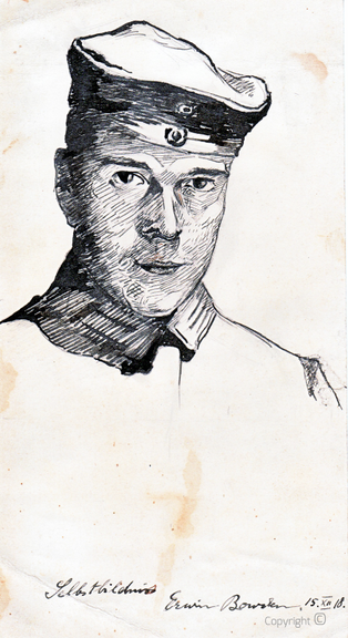Erwin Bowien (1899-1972): Selbstbildnis als Soldat, 1918