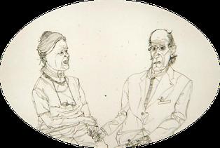 Matthias Laurenz Gräff, Zeichnung. Bildnis Isolde und Ernst Hiesmayr