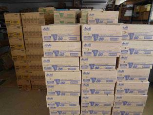 フードバンク倉庫。アサヒ飲料さんからのFB食品