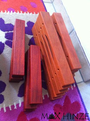 Töne gebohrt, vorne schon geölt, Max Hinze selbst gebautes Marimba selbstgebautes Marimbaphon DIY