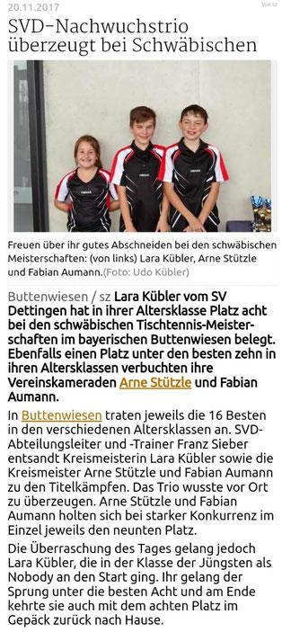 Teilnahme von Lara Kübler, Arne Stützle und Fabian Aumann an den Schwäbischen Meisterschaften. Quelle: Schwäbische Zeitung vom 20.11.2017