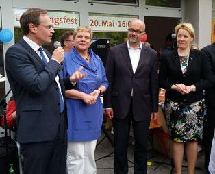 v. l. n. r.: Michael Müller, Karin Korte, Dr. Fritz Felgentreu, Dr. Franziska Giffey
