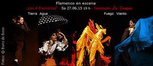 "Titelfoto zum spanischen Sommerfest 2015 im Tanzstudio La Fragua mit de Flamenco-Aufführung ""Los 4 elementos""/Color-Foto by Boris de Bonn"
