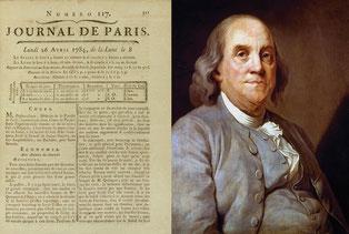 Lettre de Franklin dans le Journal de Paris du 26 avril 1784.