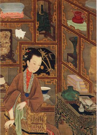 Figura della Concubina di Yongzheng in divertimento- (parziale) Dinastia Qing - Museo della Città Proibita di Pechino - Shanghai Museum