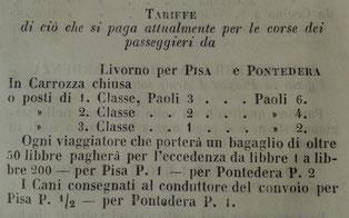 """Tariffe in vigore nel 1846, nella tratta Livorno-Pisa-Pontedera (da P. Volpi, """"Guida del forestiere per la città e contorni di Livorno"""", 1846)."""