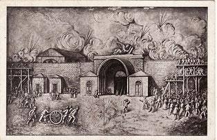 La parte superiore della stazione vista dall'interno della Porta San Marco durante l'assedio austriaco del 1849