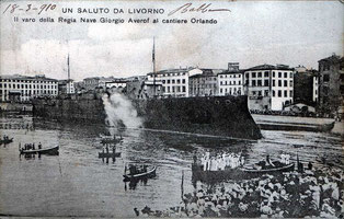 Cantiere Orlando: varo dell'incrociatore Averof, per la Marina Greca