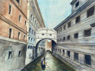 Seufzerbrücke in Venedig mit einer Gondel im Vordergrund. Gemalt als Aquarell