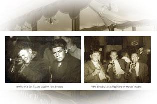 Jongens in een schiettent met een kermis en drie jongens in een café met een bierglas in de hand. Zwart-wit foto.