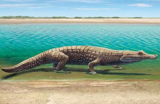 Recreación de un cocodrilo en el entorno de Las Hoyas / Óscar Sanisidro