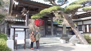 鎌倉をテクテクと3時間かけて歩きました。長谷寺の前で!