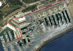 Plan d'accès de la clinique. Près Nautica Castelldefels et Santos.   Cliquer pour agrandir l'image