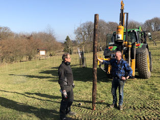 Auf der Streuobstwiese wird mit dem Zaunbau begonnen. - Foto: Dr. Nick Büscher