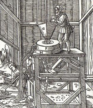 Darstellung einer Erzmühle um das Jahr 1557