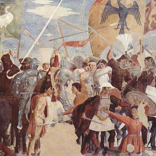 La légende de la vraie Croix. Episode 8 : La Bataille entre Héraclius et Chosroès. Piero della Francesca.