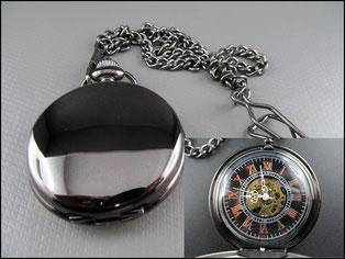 Schwarze glatte mechanische Taschenuhr mit Skeleton