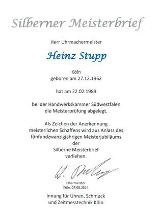 Uhrmachermeister Heinz Stupp Silberner Meisterbrief Uhrmacher