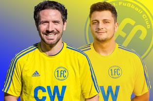 Carlo Farella und Nick Kübel werden auch in der nächsten Saison das FC-Trikot überstreifen (Kollage: 1. FC Solingen/deutzmann.net)