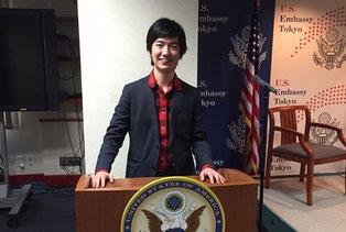 ハーバード生との国際交流プログラムでアメリカ大使館でレクチャー、ディスカッションを行った時