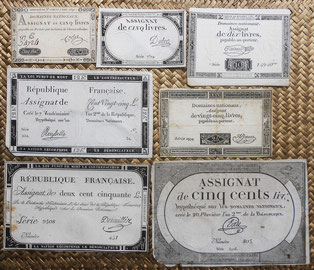 Francia Assignats 5 a 500 livres 1791-1794 unifaces