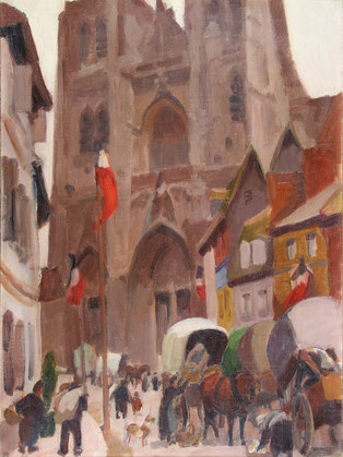 Visuel : Jules-Émile Zingg (1882-1942), La collégiale Saint-Vulfran d'Abbeville, huile sur toile, 1926. Abbeville, musée Boucher de Perthes