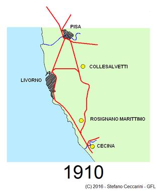 Le linee ferroviarie esistenti a Livorno e nei dintorni nel 1910
