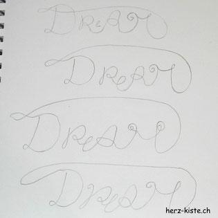 Übungsseite zum Handlettering Wort Dream