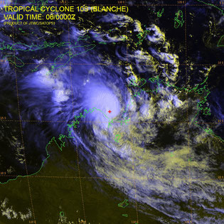 Satellite image of Tropical Cyclone Blanch prior to making landfall. From JTWC