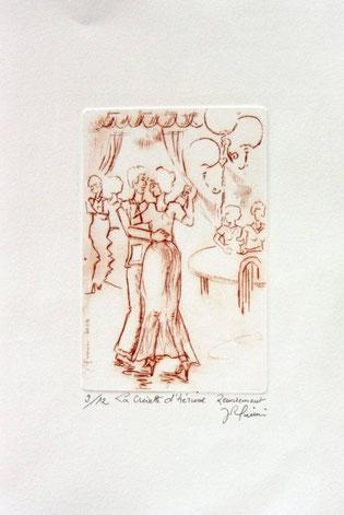 *933- Gravure : La guinguette de La Croisette Remiremont 20 x 30, vélin d'Arches