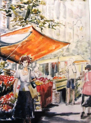 101- Le Marché de Toulon, dessin aquarellé 50X70
