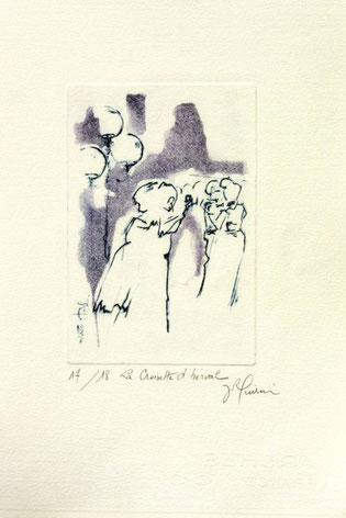 *916-2. La guinguette de La Croisette,20 x 30, vélin d'Arches