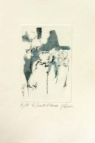 *916-1 . La guinguette de La Croisette,20 x 30, vélin d'Arches