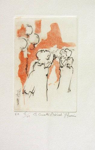 Gravure : La guinguette de La Croisette Remiremont 20 x 30