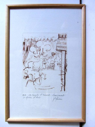 *927- La guinguette de La Croisette 20 x 30, vélin d'Arches
