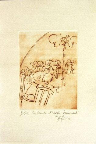 *923- La guinguette de La Croisette 20 x 30, vélin d'Arches