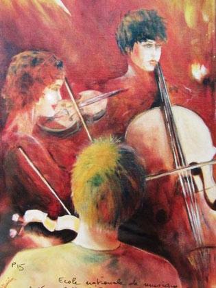 457- Un de mes derniers tableaux à l'huile, travail sur l' École Nationale de Musique d'Epinal.