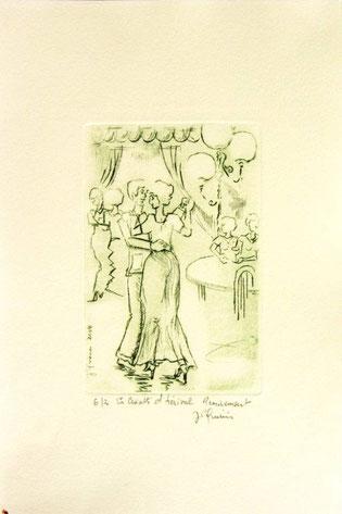 *936- La guinguette de La Croisette 20 x 30, vélin d'Arches