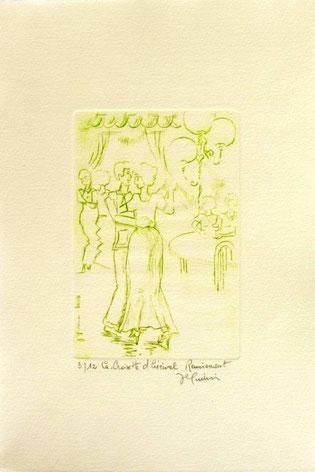 *934- La guinguette de La Croisette 20 x 30, vélin d'Arches