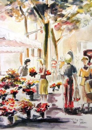 95- le Marché du Muy, dessin aquarellé 50x70