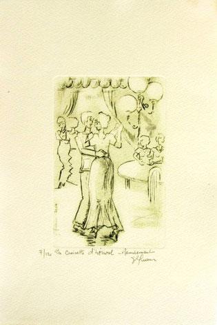 *937- La guinguette de La Croisette 20 x 30, vélin d'Arches