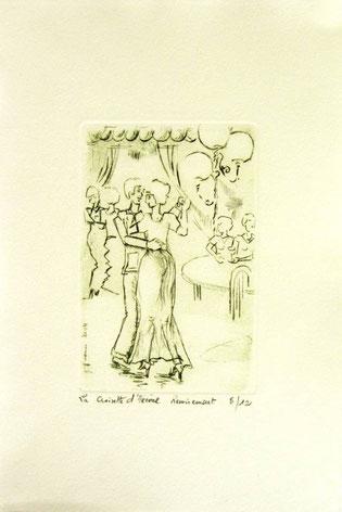 *935- La guinguette de La Croisette 20 x 30, vélin d'Arches