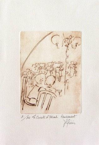 *922- La guinguette de La Croisette 20 x 30, vélin d'Arches