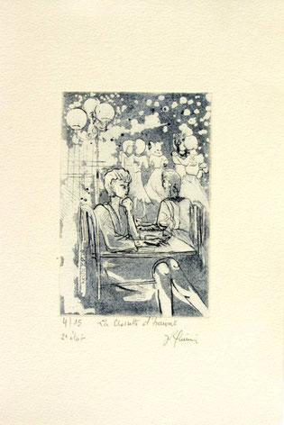 *898-- La guinguette de La Croisette 20 x 30, vélin d'Arches