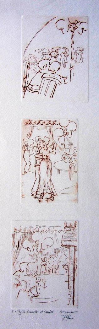 * 888- La guinguette de Remiremont, 3 gravures en hauteur, 50x20